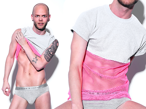 VYCE Gray And Pink Mesh T-Shirt