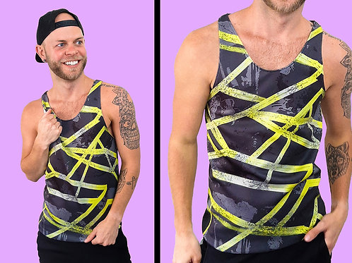 Abstract Yellow and Gray Tank Top