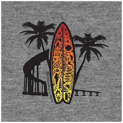 SD911MSC Sunset Surfboard T-Shirt