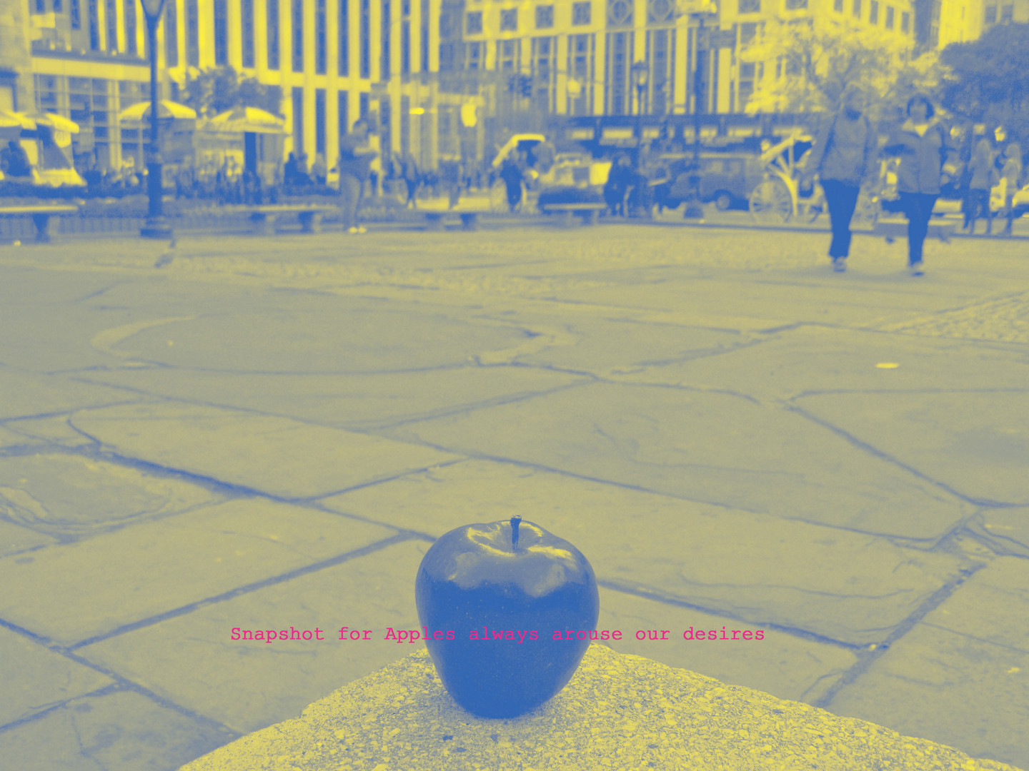An apple stood in front of the Apple store in NYC 2010