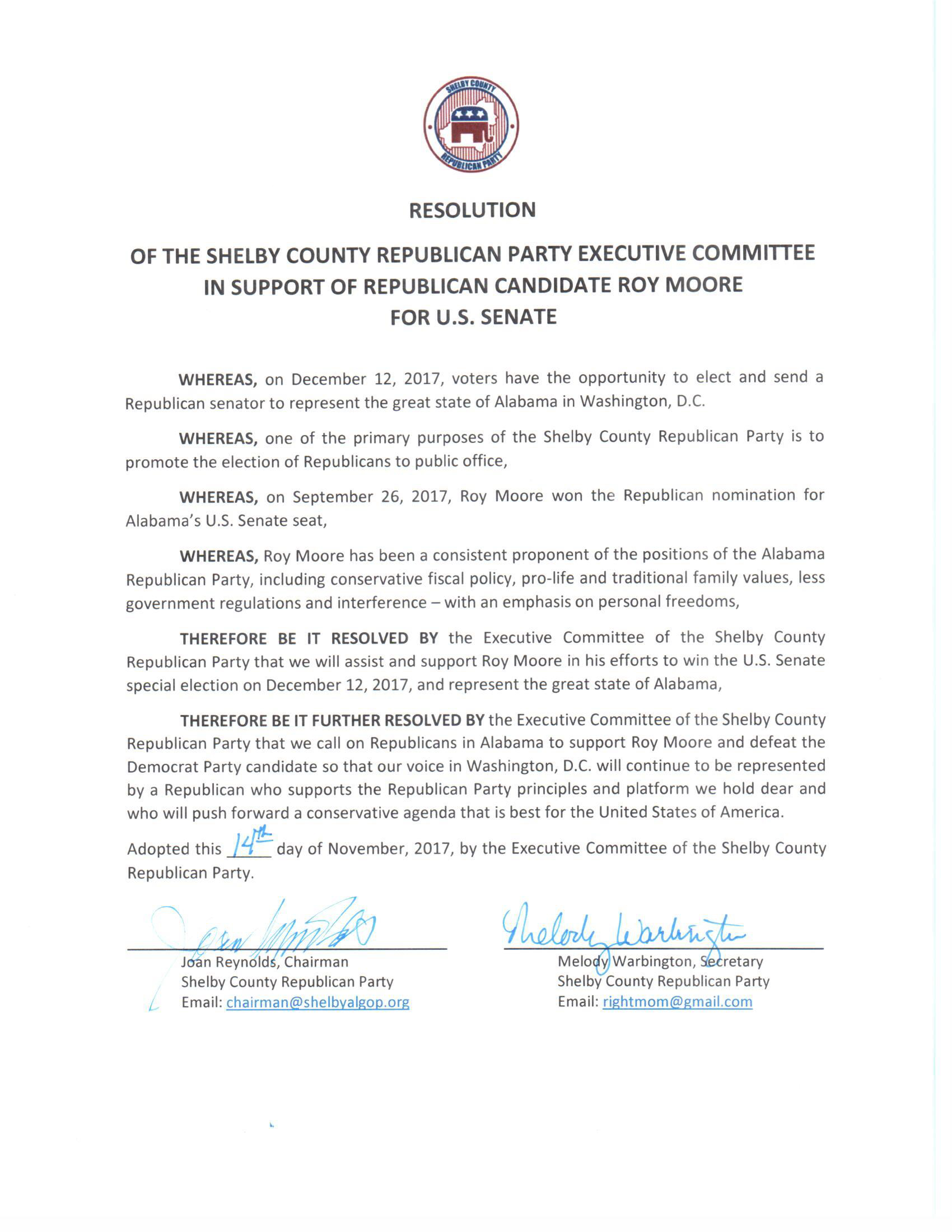 SCGOP Resolution in support of Roy Moore | Shelby County