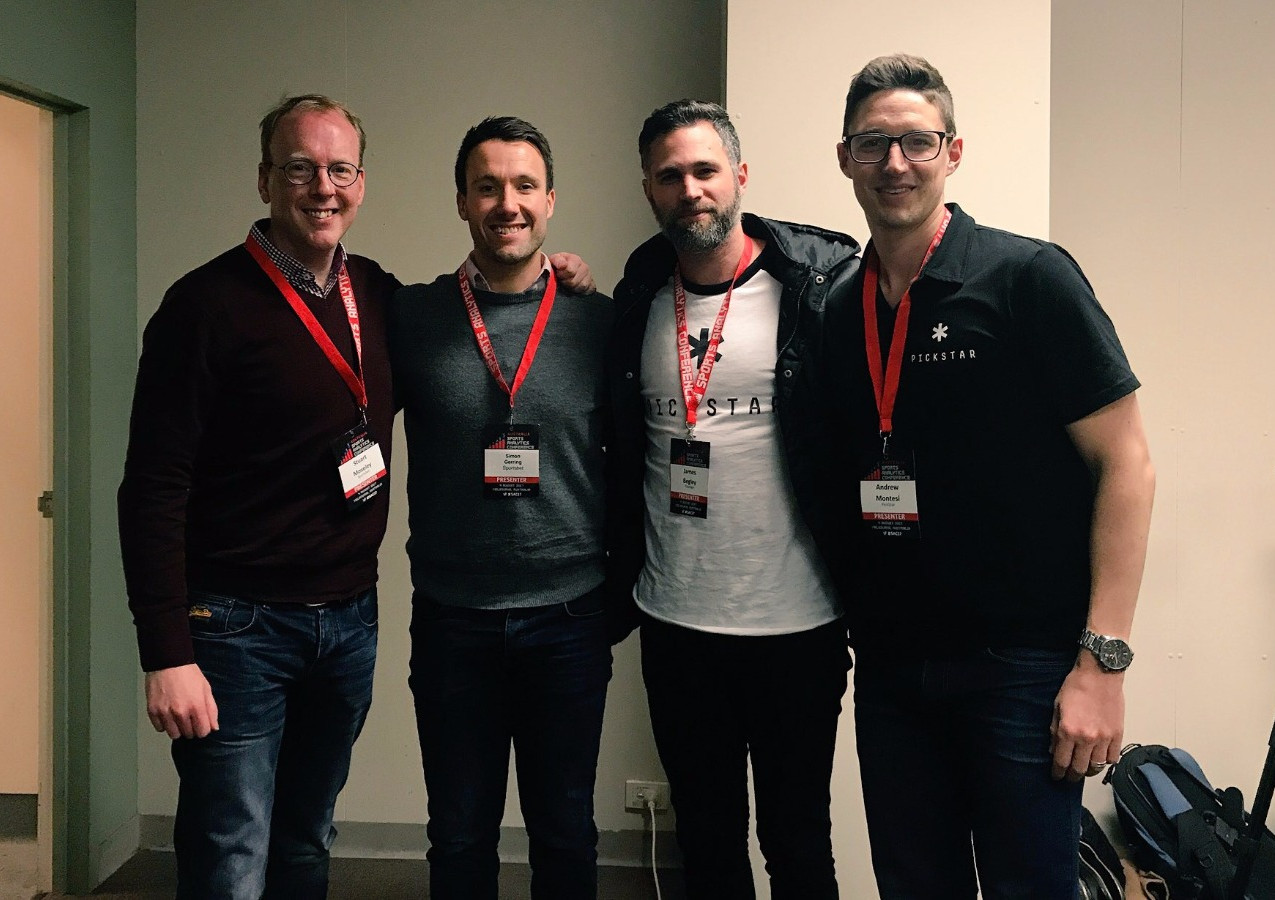 Stuart Moseley and Simon Gerring from Sportsbet with James Begley and Andrew Montesi from Off-Field.