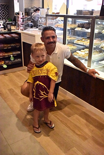 Corey Parker with a young fan