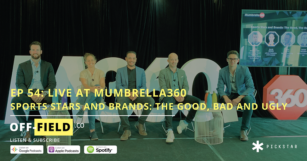 Mumbrella360: Swimming star James Magnussen, AFLW and W-League star Ellie Brush, Dan Bitti from Kellogg's, Pete Wilson from Iris and Andrew Montesi from PickStar