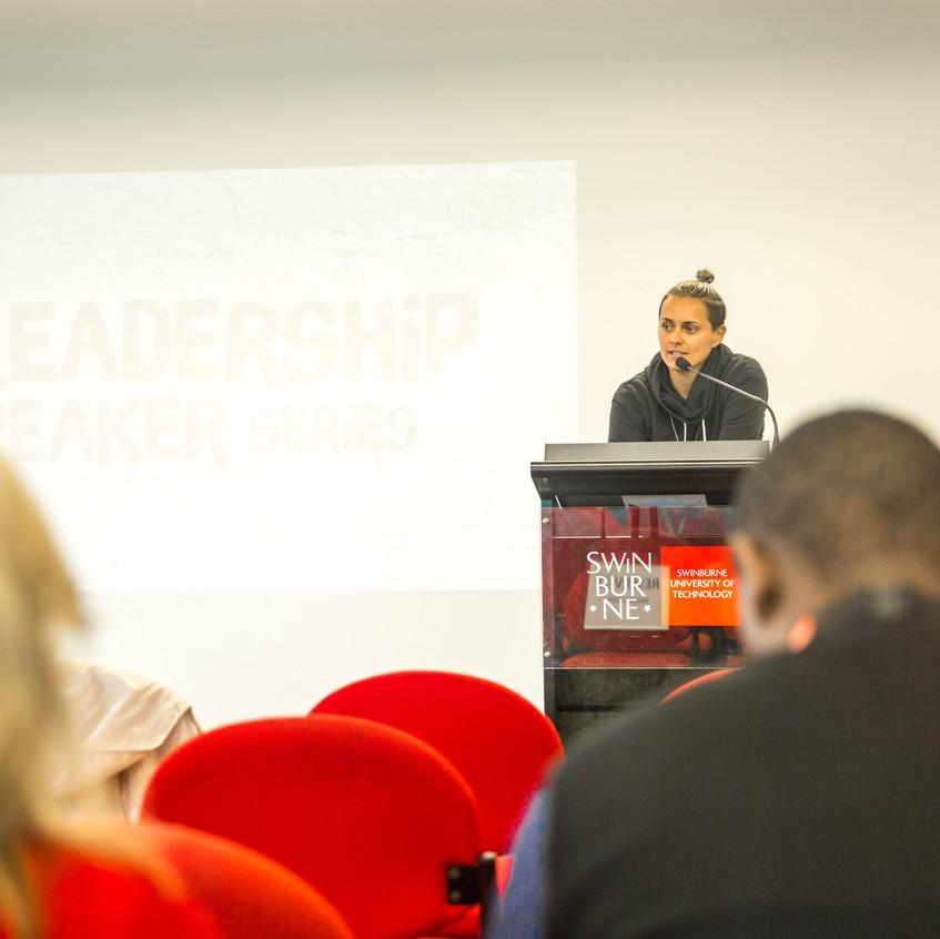 Moana Hope tells her story at a leadership event at Swinburne University