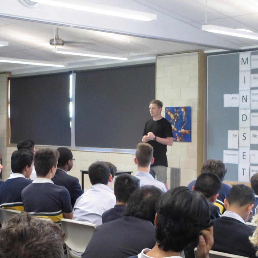 Jack Ziebell addresses students at Westbourne Grammar School.