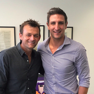 Cricket legend Adam Gilchrist with Mtthew Pavlich