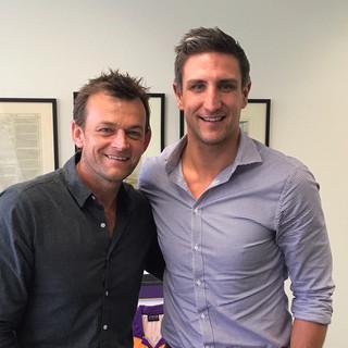 Cricket legend Adam Gilchrist with Mtthew Pavlich