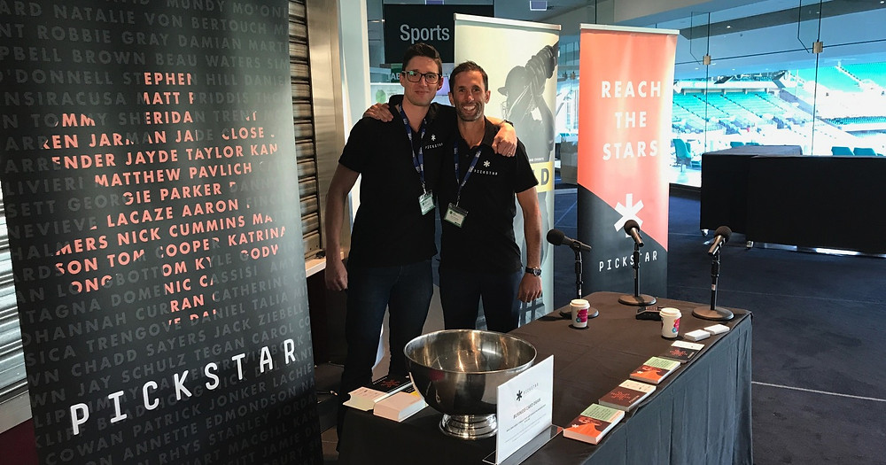 Andrew Montesi and Mark Knowles and the PickStar stall