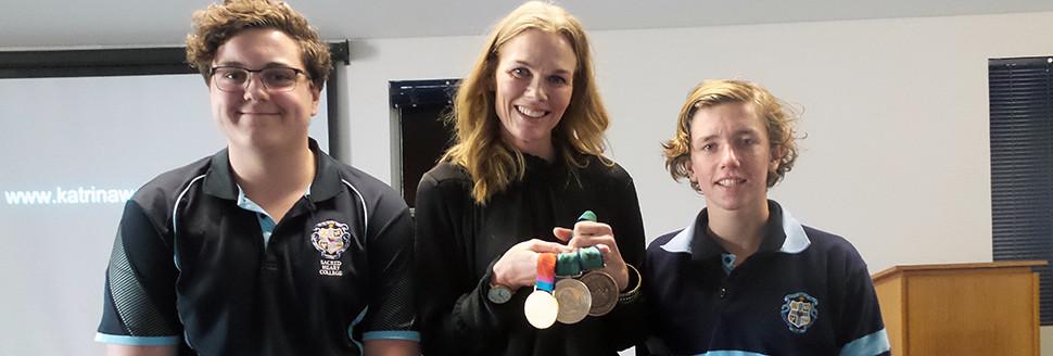 Paralympian Katrina Webb with school students