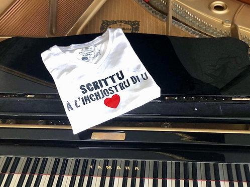 Tee-shirt Scrittu à l'inchjostru di u cori