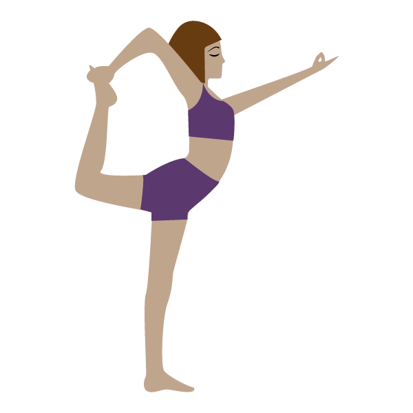 Illustration of yogi in dancer pose wearing purple crop top and shorts