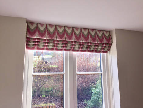 Recessed Blackout Ethnic Print Roman Blinds