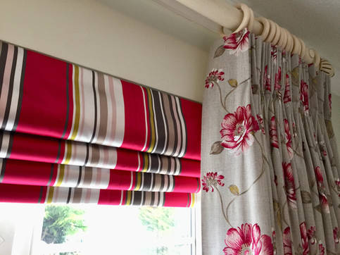 Contrast Roman Blinds with Beautiful Floral Pinch Pleat Curtains