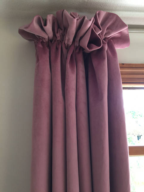 Cottage Pleat Velvet Curtains to the Floor