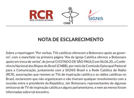 """""""A Igreja Católica não faz barganhas"""", afirma Nota de Esclarecimento da CNBB, SIGNIS Brasil e RCR"""