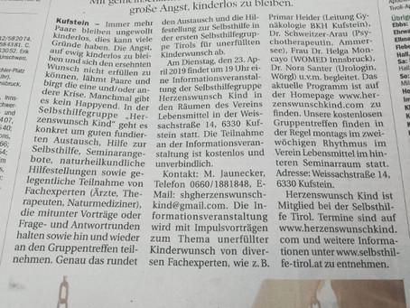 Artikel in der Tiroler Tageszeitung v. 06.04.19