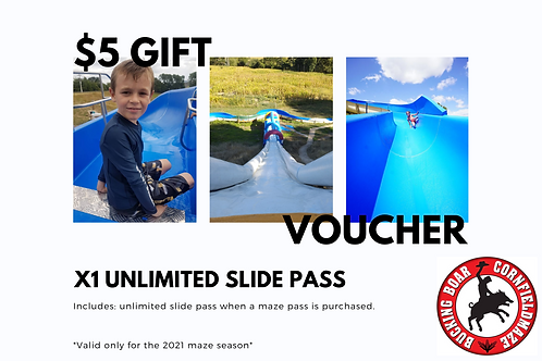 Gift Voucher x1 Unlimited Slide Pass when a maze ticket is purchased