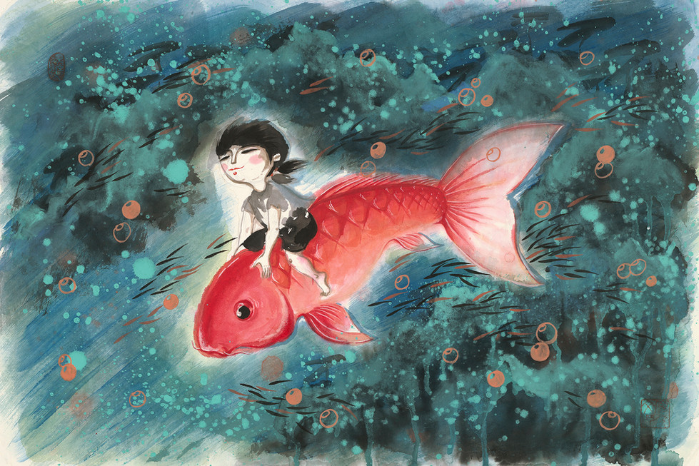 Little Girl And Her Fish