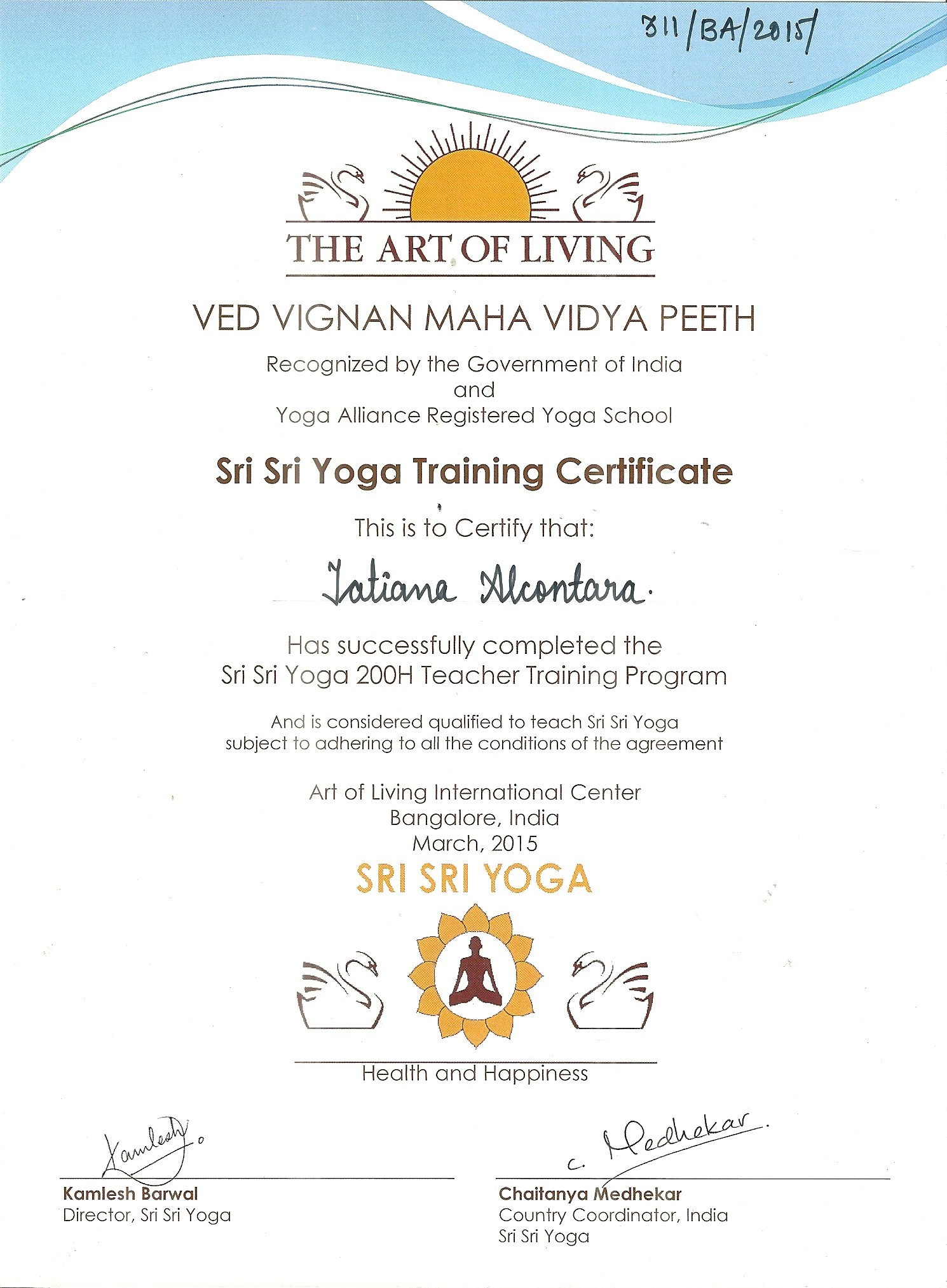 Sri Sri Yoga Training 2015
