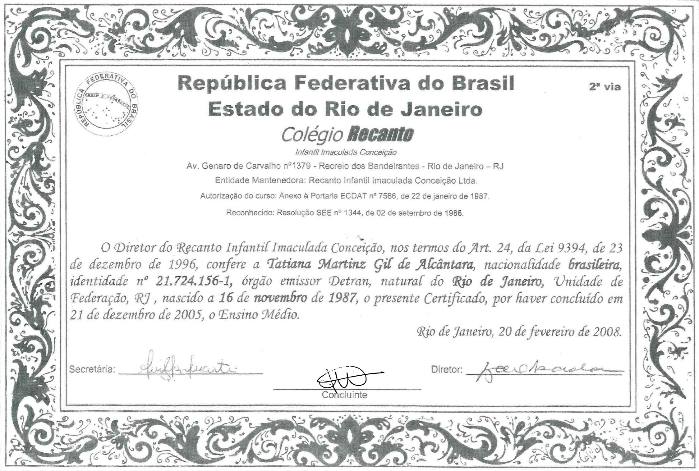 Certificado Ensino Médio