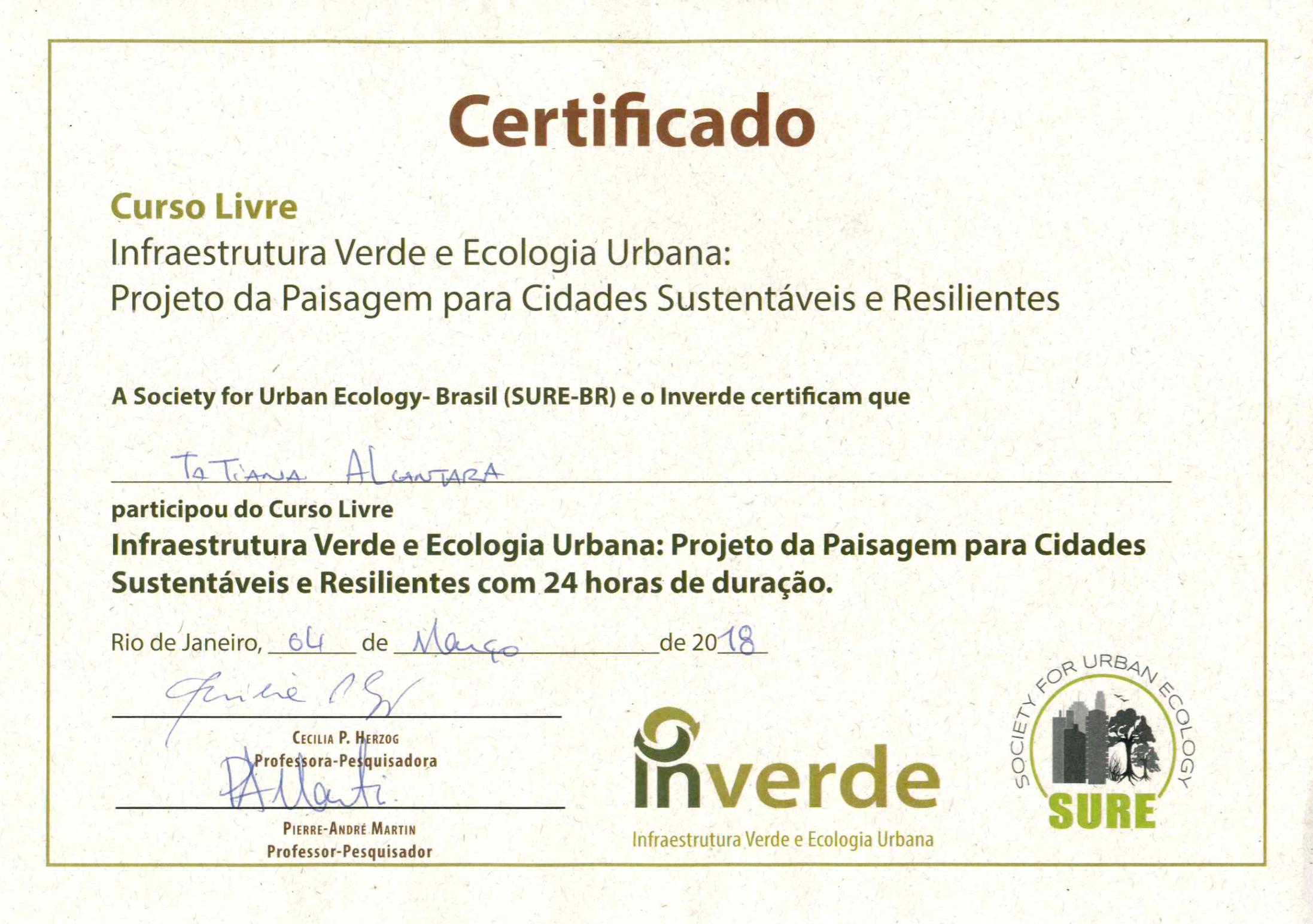 Infra. Verde e Ecologia Urbana 2018