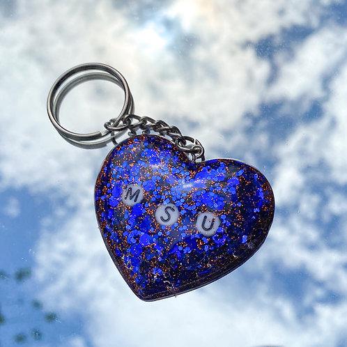 MSU Heart Keychain