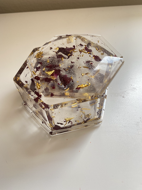 Roses and Gold Flakes Jewelry Box