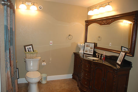 Private bathroom in resident apartment at Victorian Gardens