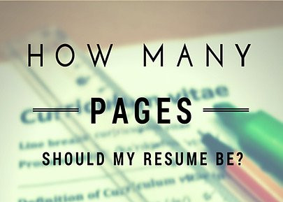 how many pages should my resume be