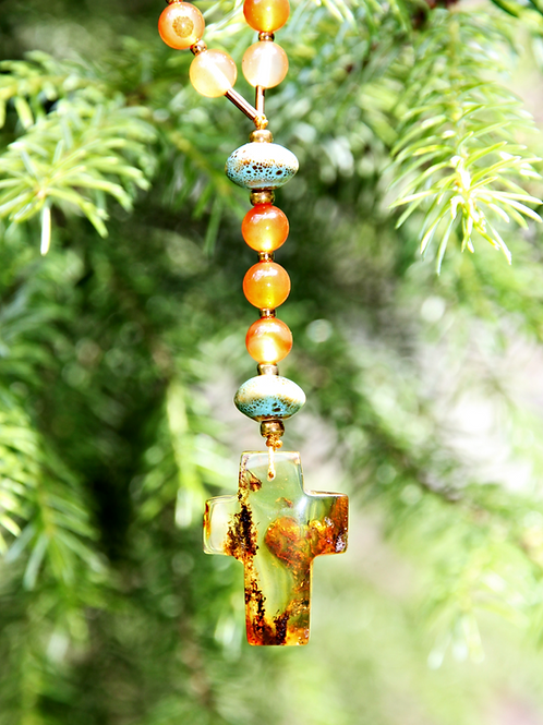 catholic rosary handmade amber cross