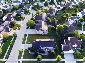 Vue aérienne d'une banlieue