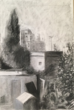 drawing from kitchen window