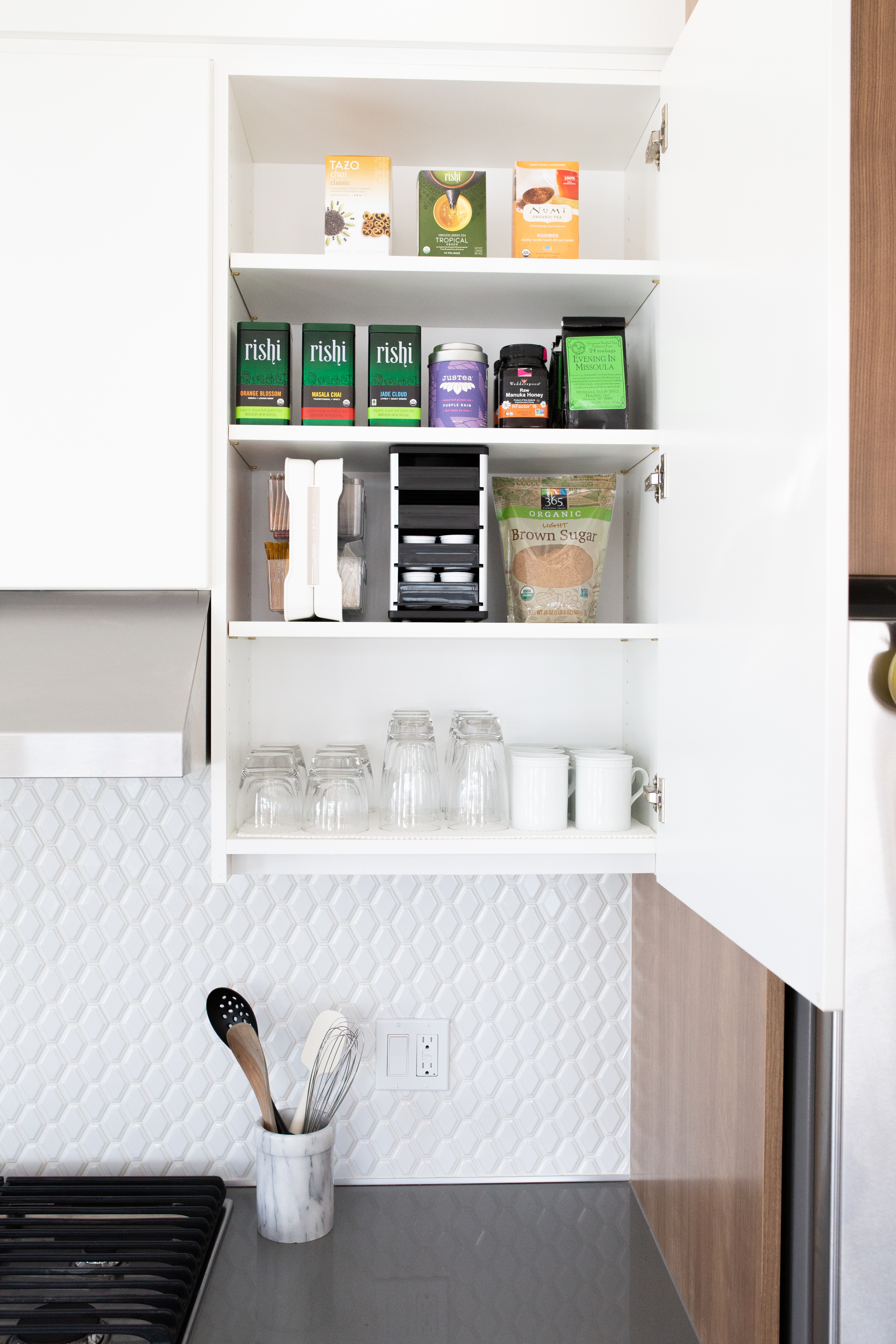 organized coffee and teas