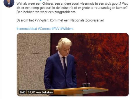Geert Wilders manipuleert sterk met Chinezen, vleermuizen, rampen en aanslagen in 240 tekens