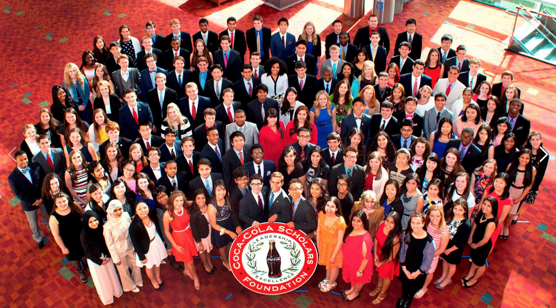 The 2014 Class of Coca Cola Scholars, one of the largest scholarship programs in the country, awarded to 150 students out of 100,000 that apply. (Lower right? Honestly couldn't tell you.)