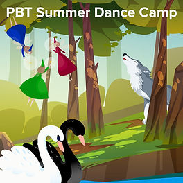PBT Summer Dance Camp illustration of swans, fairies and a wolf