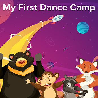 My First Dance Camp illustration of space and dancing animals