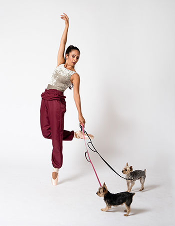 Alondra Flores, dance portrait with her two dogs