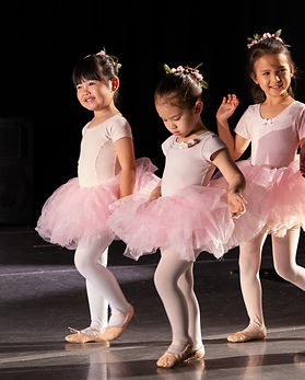Young ballet students in pink leotards and tutus
