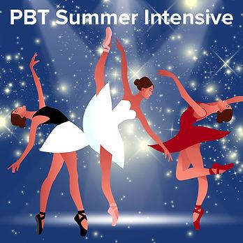 PBT Summer Intensive illustration of 3 dancers on pointe