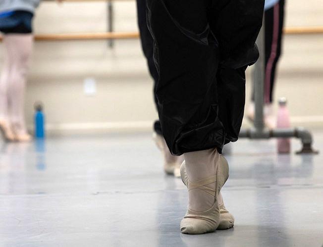 Adult ballet dancers feet