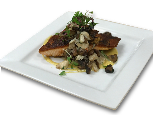 EJ's Urban Eatery in Kansas City's West Bottoms. The Original Meat-and-three. Roasted Salmon. Sauteed mushrooms, crab, garlic, shallots, and brown butter hollandaise.