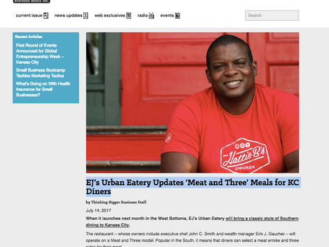 THINKING BIGGER BUSINESS: EJ's Urban Eatery Updates 'Meat and Three' Meals for KC Diners