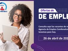 Vacantes de empleo  - 26 de abril de 2021