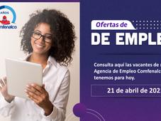 Vacantes de empleo  - 21 de abril de 2021