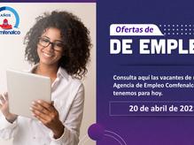 Ofertas de empleo - 20 de abril de 2021