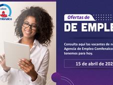 Vacantes de empleo  - 15 de abril de 2021