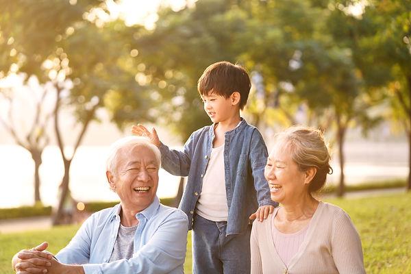 asian grandson, grandfather and grandmot