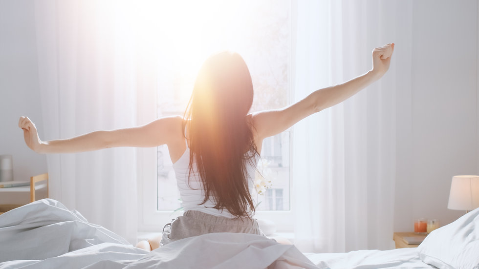 Beautiful Brunette is Waking up in the M